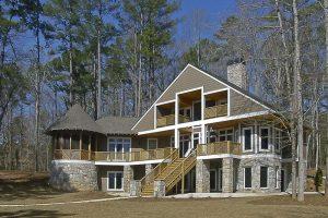 Georgia Lake House designed by Atlanta Architect Daniel Martin on the Oconee Lake back elevation
