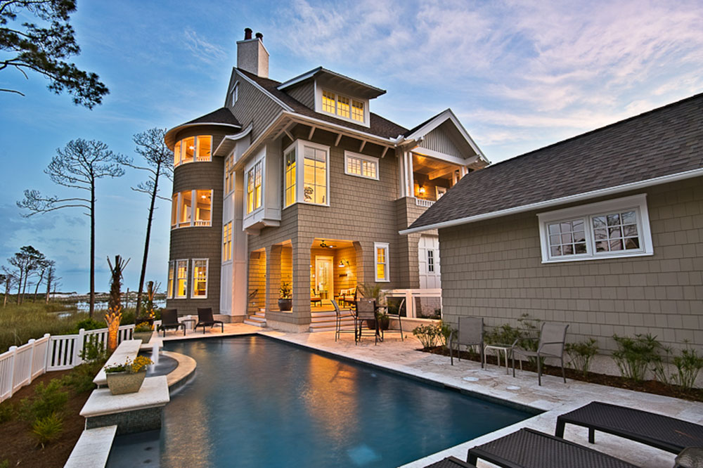 Residential House Architecture with swimming pool in Watersound Florida Panhandle
